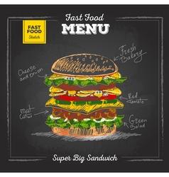 Vintage chalk drawing fast food menu sandwich vector