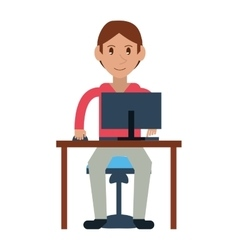 Young boy uses computer desk chair design vector
