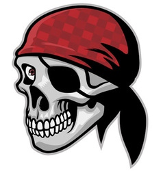 Skull of pirate wearing a bandana vector