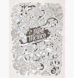 cartoon hand-drawn doodles latin american vector image