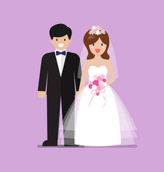 Young happy newlyweds bride and groom vector
