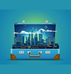 Around the world concept modern cityscape night vector