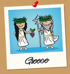 Greece travel polaroid people vector
