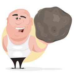 Strong man holding big boulder vector