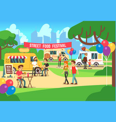 cartoon street food festival with people and vector image