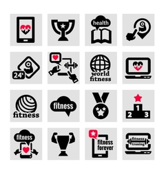 Fitness icons set vector