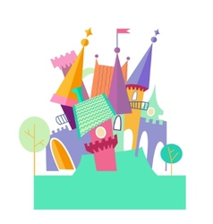 Magical fabulous cartoon castle flat vector