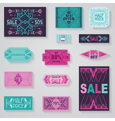 SALE Tags and Labels - Tribal and Aztec Style vector image