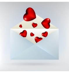 Envelope with glassy red hearts vector
