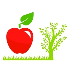 Garden symbol with tree and red apple vector