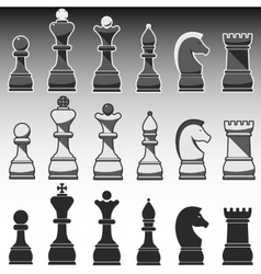 Set of chess figures black grey and white vector