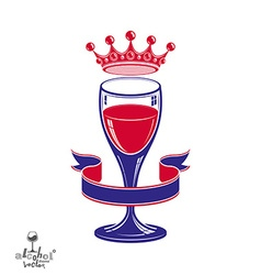 Wineglass with king crown vector