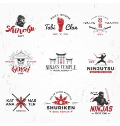 Set of japanese ninjas logo katana master vector