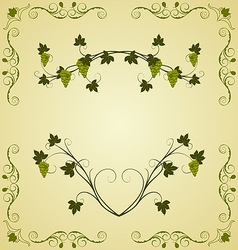 Grape twig ornate for design labels - vector