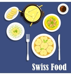 Swiss cuisine dishes and cheese fondue vector