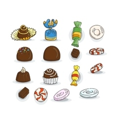 Set of candy icons glaze caramel candy vector