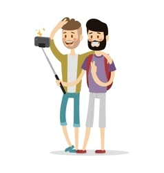 Selfie friends mans gays couple vector