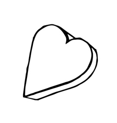 Doodle heart isolated hand drawn vector