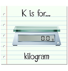 Flashcard letter k is for kilogram vector