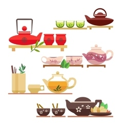 Chinese tea ceremony flat icons vector