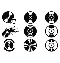 black cd icons set vector image vector image