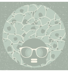 Black head woman with strange pattern on hair vector image