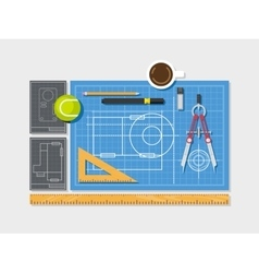 Blueprint with ruler compass and cup of coffee vector image