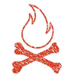 bones hell fire icon grunge watermark vector image