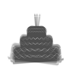 Cake with candle sign gray icon shaked at vector