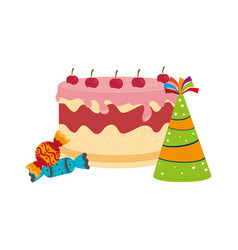 Colorful picture cake and candies with hat party vector
