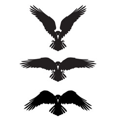 dark evil heraldic raven with spread wings vector image