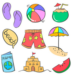 Doodle of summer object colorful vector