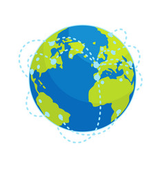 earth global connections flat concept vector image