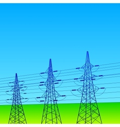 Electrical lines and pylons with blue sky vector