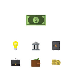 Flat icon gain set of greenback portfolio cash vector