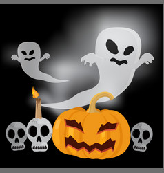 flying ghost happy halloween vector image