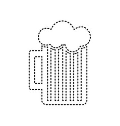 Glass of beer sign black dashed icon on vector
