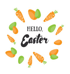 Hello easter holiday greeting card with vector