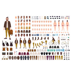 hipster creation kit set of flat male cartoon vector image vector image