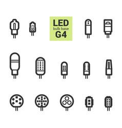 Led light g4 bulbs outline icon set vector