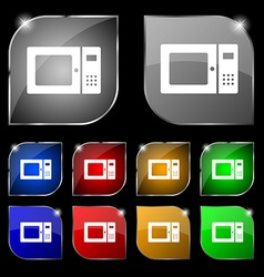Microwave icon sign set of ten colorful buttons vector
