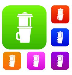 Mug for coffee set collection vector