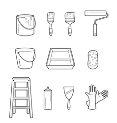 Painter Tools Objects Outline Icons Set vector image