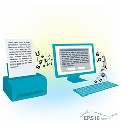 Pc computer monitor keyboard printed text blank vector