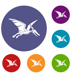 Pterosaurs dinosaur icons set vector