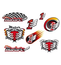 Racing and motocross emblems or symbols vector image vector image