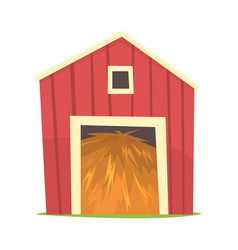 Red barn with hay wooden agricultural building vector