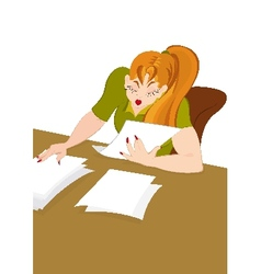 Retro hipster girl working with papers vector image