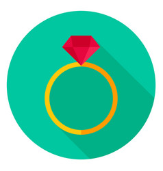 Ring with diamond circle icon vector