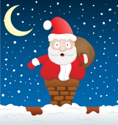 Santa stuck on chimney vector image vector image